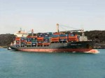 Fully-loaded container ship