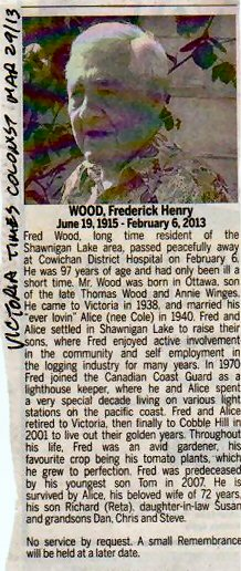 F H Wood obit