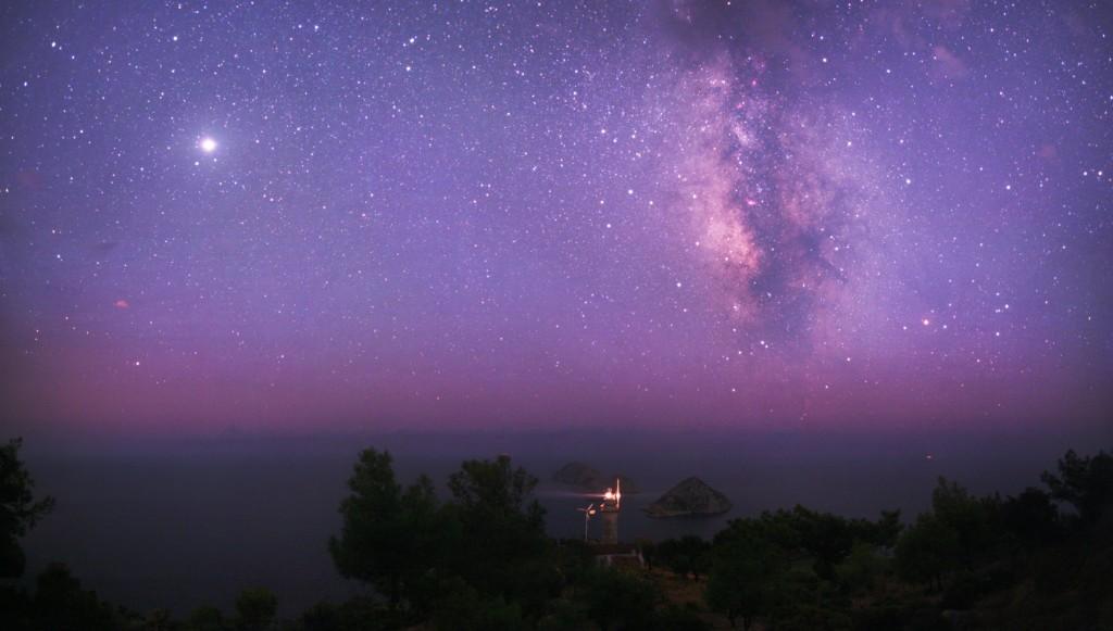 Turkish lighthouse at night