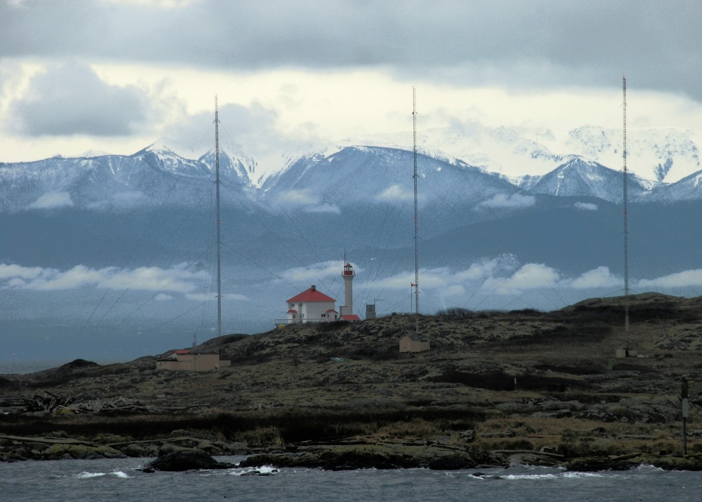 Trial Island Lighthouse showing the radio towers