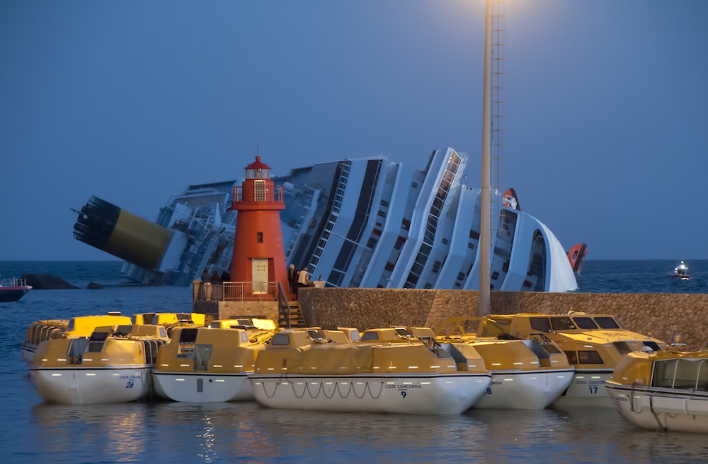 The Costa Concordia rests on its side on the morning of January 14, 2012.