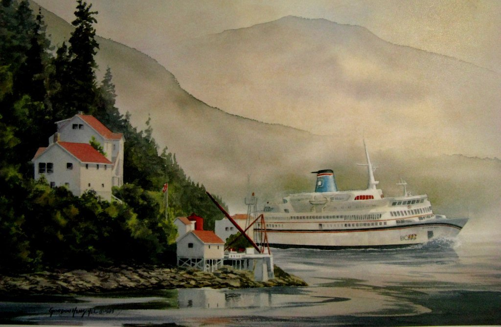 painting of the old BC ferry Queen of the North passing Boat Bluff
