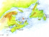 Map of Canadian Atlantic Coast lighthouses.